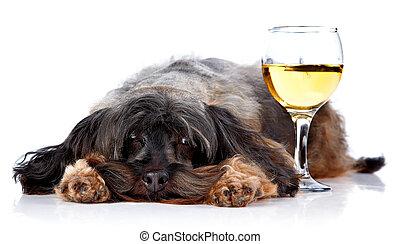 Decorative dog with a wine glass