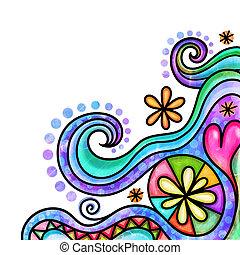 Decorative Doodle Watercolour Page Border
