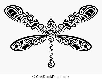 decorative insect ink drawing for tattoo design