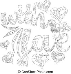 Decorative drawing. Zen tangle, isolated on white background. Hand drawn sketch for adult anti stress coloring page
