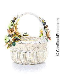 Easter basket on a white background