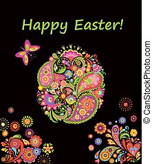 Decorative easter card with colorful patchwork pattern