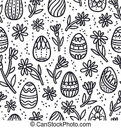 Decorative Easter doodle eggs seamless pattern