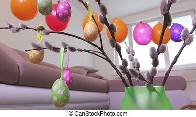 Decorative Easter eggs on pussy willow