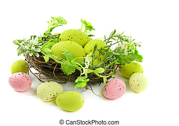decorative easter nest with eggs - decorative easter nest...