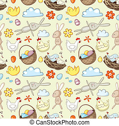 Decorative Easter pattern with eggs