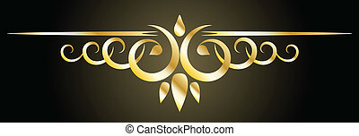 Golden decorative element on black background