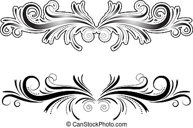 Hand drawn decorative element - one with outline and one without