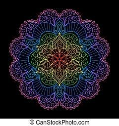 Decorative Element Rainbow Mandala on Black Backgrund. -...