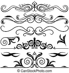 Decorative Elements A - black & white illustrations