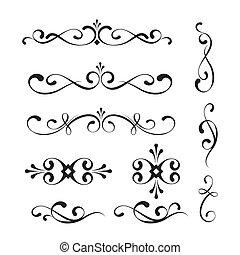 Decorative elements and ornaments - Set of decorative...