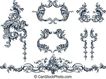 Decorative elements - Decorative vector elements, rococo ...