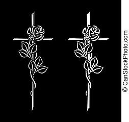 condolence - decorative elements for condolence, obituary or...