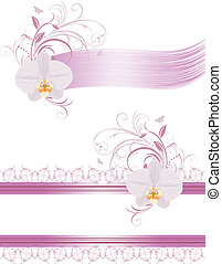 Decorative elements for design with orchids. Vector illustration