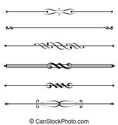 decorative elements, grens, en, pagina, regels