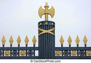 decorative elements in Alexander garden in Moscow