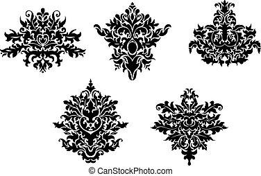 Decorative elements of damask pattern