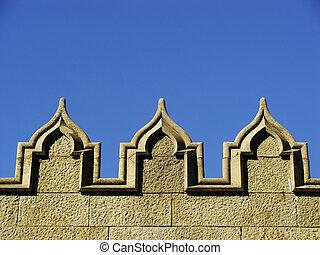 Decorative elements of stone wall, Vorontsov palace, Alupka,...