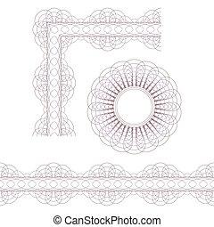 Decorative elements. Rosette, borde