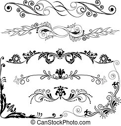 Vector illustration: set of decorative horizontal and angular elements for design