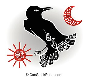 Decorative ethnic picture in the style of legends of Indian and Northern Russian populations from the black crow, the sun and the moon. EPS10 vector illustration.