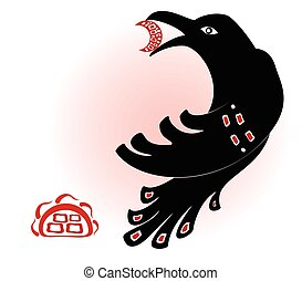 Decorative ethnic picture in the style of legends of Indian and Northern Russian populations from the black crow silhouettes, the sun and the moon. EPS10 vector illustration