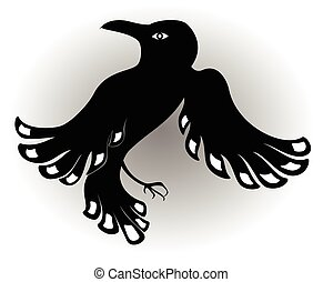 Decorative ethnic picture in the style of legends of Indian and Northern Russian populations from the silhouette of a black crow. EPS10 vector illustration.