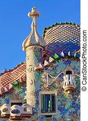 Facade of Casa Battlo in Barcelona, Spain