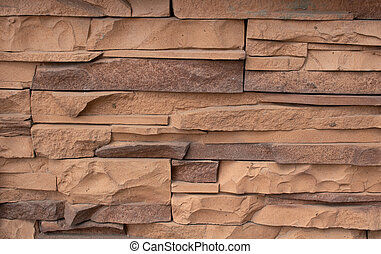 Decorative facing stone, stone with a touch of red color