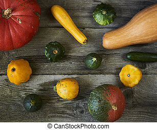 Decorative fall display of pumpkins and squash fresh on wooden background, top view