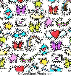 Decorative fashion patch badges - Seamless pattern with...