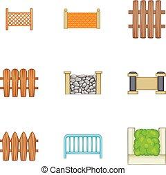 Decorative fences icons set, cartoon style