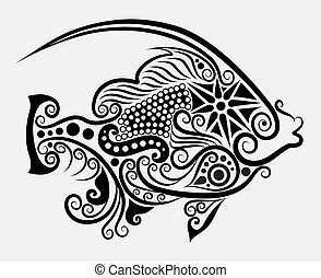 Decorative fish 2 - Fish drawing with floral ornament...
