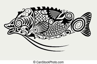 Decorative fish - decorative animal character ornament style