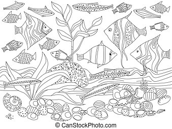 decorative fishes in an aquarium for your coloring book