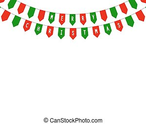 Decorative flags on greeting card happy Christmas