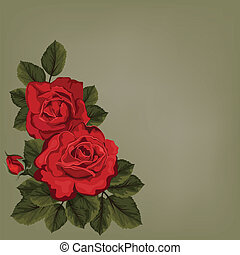 Decorative floral background with flowers of rose for invitation