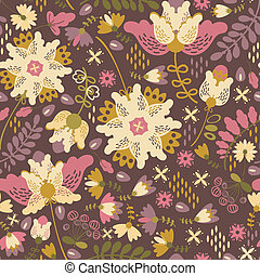 Decorative floral background with flowers on dark background