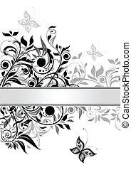 Decorative floral banner (black and
