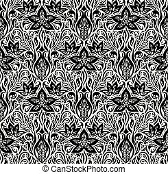 Decorative Floral Black White wallpaper design