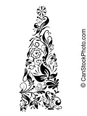 Decorative floral christmas tree, vector