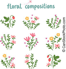 Decorative floral compositions vector collection