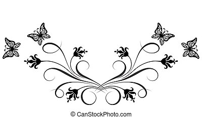Decorative floral ornament with flowers and butterfly for stencil isolated on white background