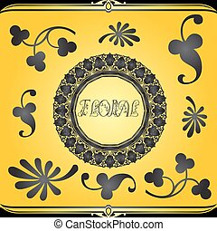Decorative floral design elements and ornaments