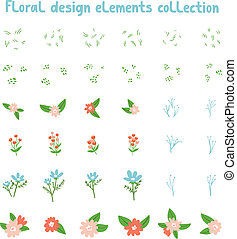 Decorative floral design elements collection. Make your own floral composition