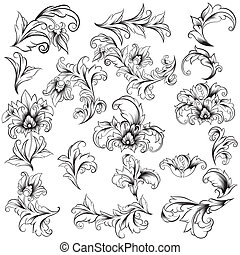 Decorative Floral Design Elements, editable vector ...
