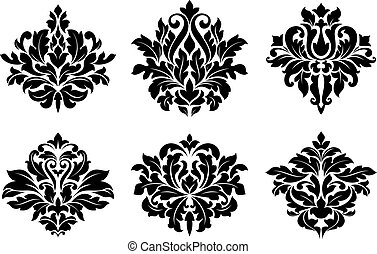 Decorative floral elements and embellishments in damask...