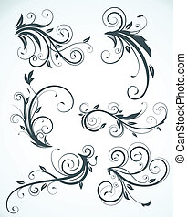decorative floral elements - Vector illustration set of...