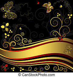 Decorative floral golden and black