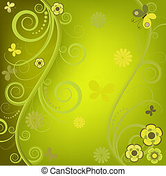 Decorative floral green background